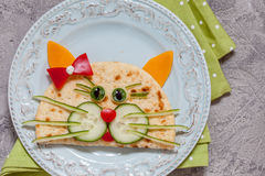 Breakfast for kids with cat quesadilla Royalty Free Stock Photos