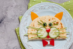 Breakfast for kids with cat quesadilla Royalty Free Stock Photo