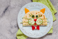 Breakfast for kids with cat quesadilla Stock Photo