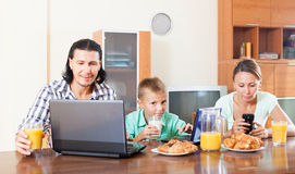 Breakfast  with laptops and juice Stock Image