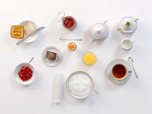 Breakfast with tea, toasts, butter, juice, jam, egg and rice porridge  on white. 3D illustration. Breakfast with lemon tea, toasts, butter, egg, juice, jam and Royalty Free Stock Photography