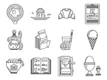 Breakfast line icons set Stock Photography