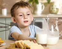 Breakfast of little boy Royalty Free Stock Photo