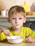 Breakfast of little boy Stock Photos