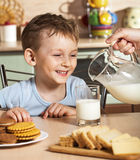 Breakfast of the little boy Stock Image