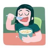 Breakfast a little girl. Scalable vector illustration in cartoon style Stock Photos