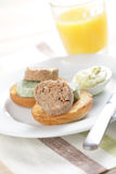Breakfast with liver pate Stock Images