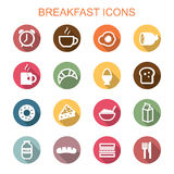 Breakfast long shadow icons Royalty Free Stock Photography