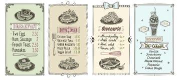 Breakfast, lunch, desserts and ice cream menu list set vector illustration