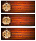 Breakfast Lunch Dinner Headers Clock. Set of wooden banners with wood clock - breakfast, lunch and dinner time Royalty Free Stock Photos
