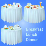 Breakfast lunch dinner on the table with a tablecloth Stock Images