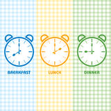 Breakfast Lunch and Dinner time Royalty Free Stock Images