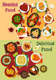 Breakfast and lunch dishes icon for menu design Royalty Free Stock Photography