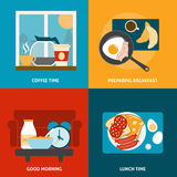 Breakfast and lunch icons set Stock Image