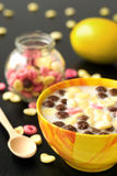 Breakfast lunch snack lemon chocolate fruity ball cereal with milk Stock Images