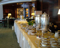Breakfast in luxury hotel. Table for breakfast buffet in the first class hotel stock photography