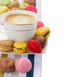 Breakfast with macaroons  and coffee Stock Photo