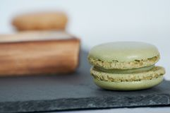 Breakfast of macarons wooden splint royalty free stock photo