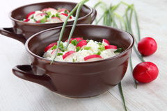 Breakfast made from cottage cheese with chive and radish Stock Image