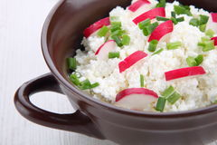 Breakfast made from cottage cheese with chive and radish Stock Photo
