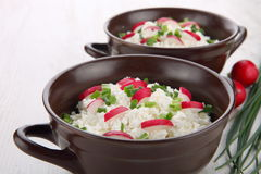 Breakfast made from cottage cheese with chive and radish Stock Photos