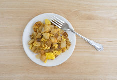 Breakfast meal with fork on a plate top view Stock Photography
