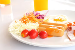 Breakfast meal and salad Royalty Free Stock Photos