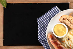 Breakfast Meal on Top of Black Chalkboard Royalty Free Stock Photography