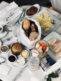 Breakfast Meals on Table Stock Image