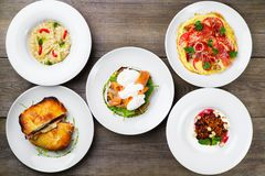 Breakfast meals variety, restaurant menu photo. Set of delicious nourishing morning diet meals, flat lay stock photos