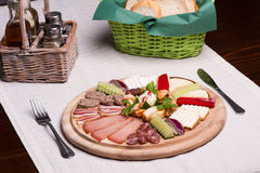 Breakfast with meat and cheese Royalty Free Stock Photos