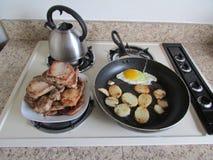 Breakfast(meat, egg, potato slices). stock photo