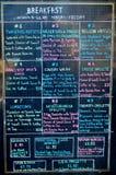 Breakfast Menu. The breakfast menu outside of an American restaurant Royalty Free Stock Photography
