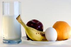Breakfast menu. Fruits and Milk stock photo