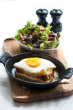 Breakfast menu with beautiful fried eggs and bread Royalty Free Stock Images