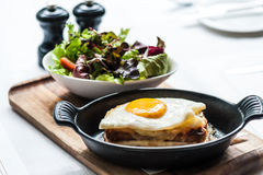 Breakfast menu with beautiful fried eggs and bread Royalty Free Stock Photos