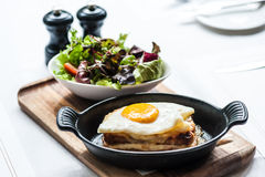 Breakfast menu with beautiful fried eggs and bread Royalty Free Stock Photography