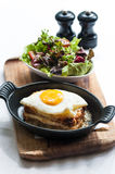 Breakfast menu with beautiful fried eggs and bread Royalty Free Stock Photo