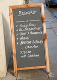Breakfast menu on black board. Royalty Free Stock Image