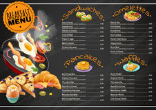 Breakfast Menu On Chalkboard. Breakfast menu on black chalkboard including omelettes sandwiches with vegetables pancakes waffles with chocolate, fruits vector stock illustration
