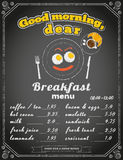 Breakfast menu on the chalkboard Stock Photography