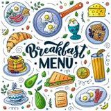 Breakfast menu design elements. Vector doodle illustration. Calligraphy lettering and traditional breakfast meal. Breakfast menu design elements. Vector doodle vector illustration
