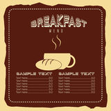 Breakfast menu design Stock Images