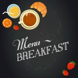 Breakfast menu drawing with chalk on blackboard Stock Photography