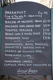 Breakfast menu, Lichfield. Royalty Free Stock Photo