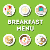 Breakfast menu, modern flat icon. With shadow in colours, geometry styli in circle Royalty Free Stock Images