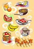 Breakfast Menu Pictures. Breakfast Menu Different Food and Drinks Pictures Stock Images