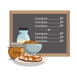 Breakfast menu syrup pancake milk cereal Stock Image