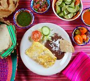 Breakfast in mexico omelette eggs with chili sauce Royalty Free Stock Photo