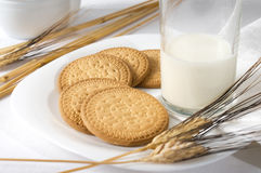 Breakfast with milk. And biscuits, wheat Stock Photography